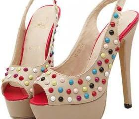Apricot Faux Leather Studded Peep Toe Stiletto Heels