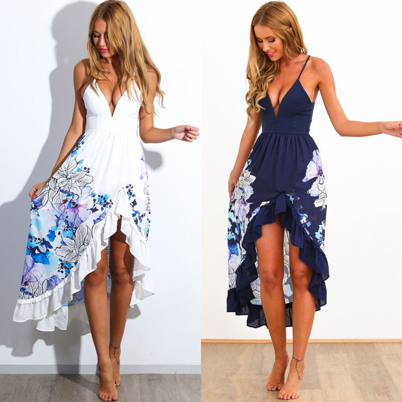 Sexy Women Summer Boho Long Maxi Evening Party Dress Beach Dresses ...