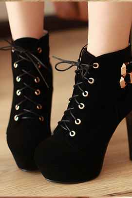 Sexy Brown Lace Up High Heels Ankle Boots-Black