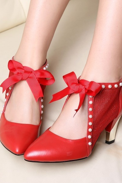 Delicate Pointed Bowknot Is Thick With Single Women's Shoes